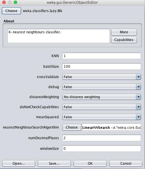 Weka k-Nearest Neighbors Algorithm Configuration