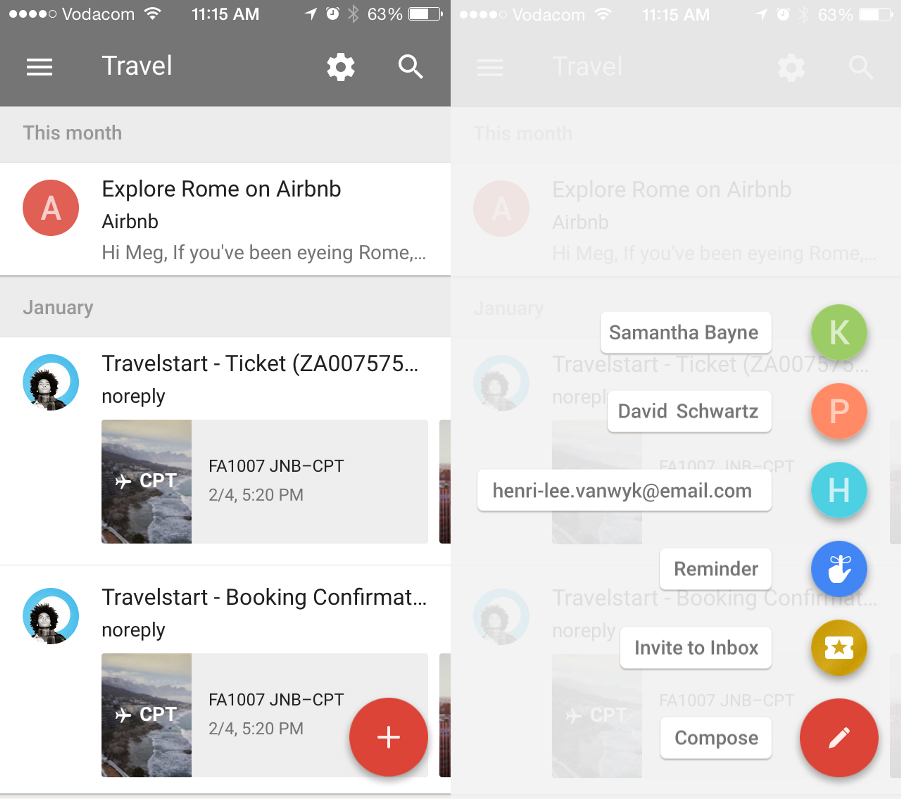 The Google Inbox Floating Action Button feature