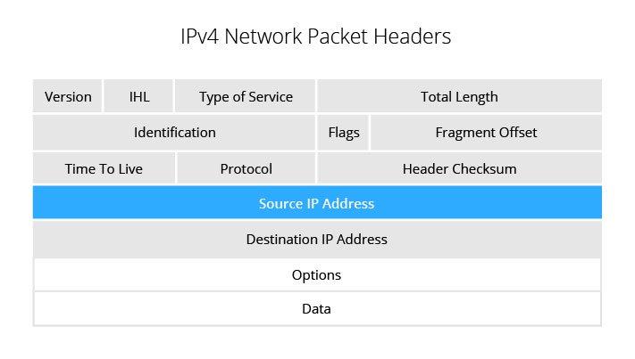 IPv4 network packet headers