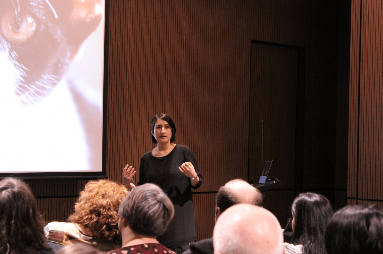 Shohre presenting at a conference