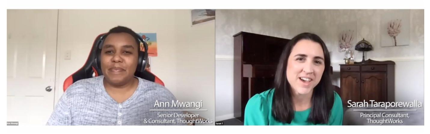 Screenshot of Ann Mwangi and Sarah Taraporewalla giving a webinar presentation at XConf