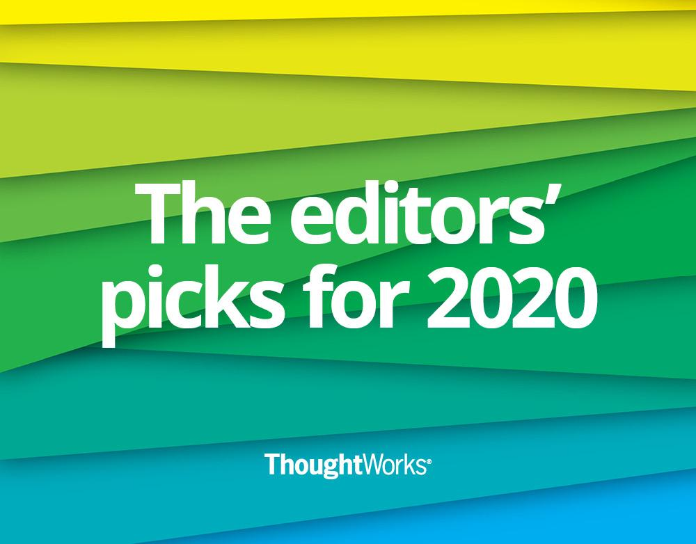 Green, yellow and blue background with white text in the center saying 'the editor's picks for 2020'